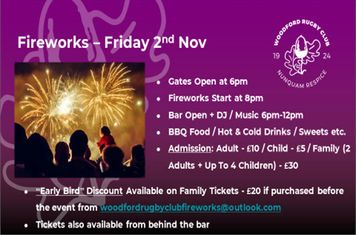Woodford Rugby Club Fireworks Display