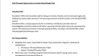 Paid Therapist Opportunity at London-Based Rugby Club
