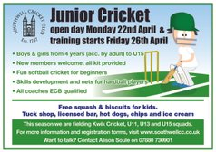 Date for your diary - Junior Training Starts 26th April