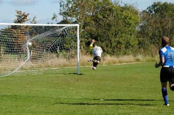 Hailstone watches John Hinson's emphatic free-kick fly in for 2-1.
