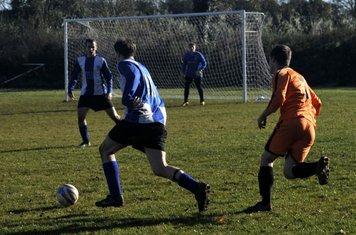 Julian bearing down on goal again...