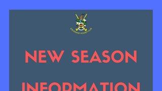 New Season Information - training, pre-season, BBQ, league games.
