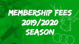 Membership Fees for the 2019/2020 Season