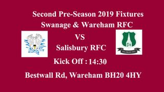First pre-season home game Saturday 31st August 2019