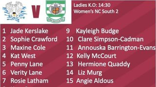 Ladies Teamsheet Sunday 20th