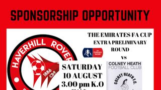 SEEKING A MATCHDAY SPONSOR FOR OUR FIRST FA CUP GAME - SAT. 10 AUGUST 2019