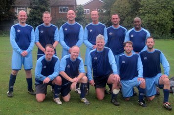 COXA Vets 2 - Old Minchendenians Vets 0 - Sept 2014: Back row: Chris Brewster, Gordon McCarthy, Mike Garvey, Andy Brannon, Paul Hamilton, Trevor Williams : Front row: Errol McCarthy, Spencer McGuire, John McGowan, Will Ross, Jim McTavish.