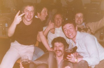 COXA Football Dinner, 6th May 1978 (at the college?): Mick Powell, Colin Garvey, John Newman, Stan Miller, Alan Webber,  Dave Leatham