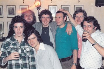 Charlie Bonds stag night at the 'Fellmonger's Arms' Wednesday 17/8/1977: Mick Grice, Eamonn Taggart, Kevin 'Charlie' Bond, John Taggart, John Manzi, Joe McElligott, Gerry Taggart.