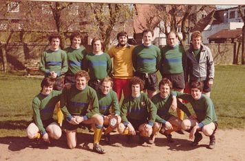COXA Easter Tour to Great Yarmouth 17 - 20th April 1981. 1st XI before first game on the Saturday.