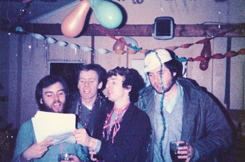 Carol Singing at the Christmas Party in the Old Clubhouse, December 1980
