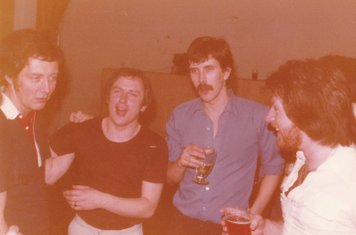 Colin Garvey leading a rendition of 'Black Pudding' - COXA Football Section Dinner at the College 6/5/1978