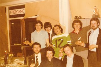 COXA Football Section Dinner held at the College on 21/5/1977 1st XI with trophies.