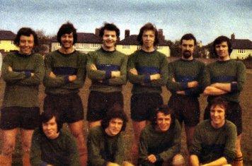 COXA 1st XI before final game of 74/75 season. Garvey, Burnham, Bowers, Mick McGrath, Baker, Fulker – Tom Madden, Joe McElligott, Mansi, Curran.