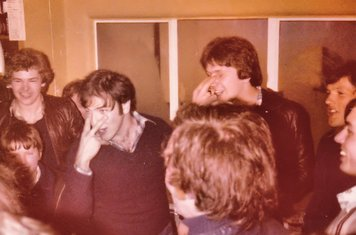 """Orange Hill Old Boys centre halves, lead the signing in the old clubhouse at Norbury singing 'Alouette'…""""How I love your two black eyes...."""" – 8.4.1978"""