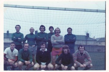 Veterans XI Boxing Day 1973 – Aiden Coletta, John McGuire, Colin Garvey, Willie Pepper, Chris Smith, Pete Brown. -  Frank Hixon, Magee, (Luke?), King, Eric Tope.