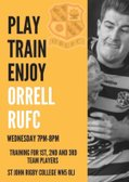 Open age training continues tonight at Orrell RUFC
