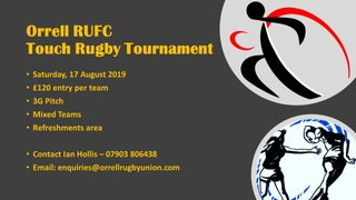 Not long to go ...... Have you entered your team for the Orrell RUFC Touch Tournament Yet?