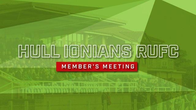 Hull Ionians RUFC Members Meeting