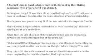 Buckingham United donates shirts to Gambian Club Buckingham United