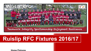 Ruislip RFC Home Fixtures for 2016/17 season