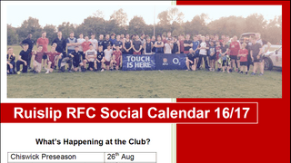 Social Calendar for the 2016/17 Season