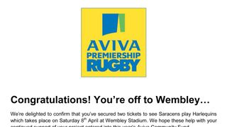 Saracens vs Harlequins Tickets 8th April 2017 - Auction