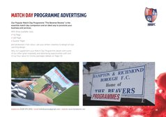 Match Day Programme Advertising