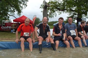 Harry's Heros - Spike, Johnny R. Johnny E and Conor at the Eastnor Castle Mud Run July 1st 2012
