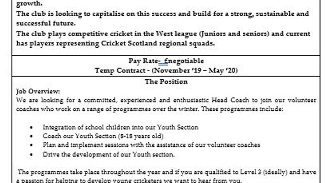 Stenhousemuir looking for Winter Junior Coach