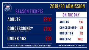 2019/20 Season Tickets & Admission Prices