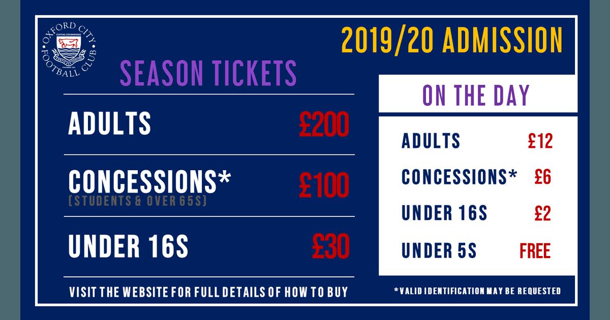 2019/20 Season Tickets & Admission Prices