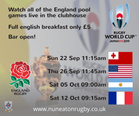 Watch all the England RWC 2019 pool games at The Nuns...