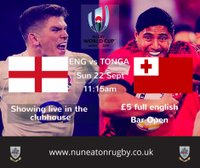 England v Tonga - RWC 2019 Pool live in the clubhouse