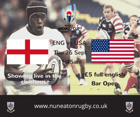 England v USA - RWC 2019 Pool live in the clubhouse