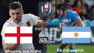 England v Argentina - RWC 2019 Pool live in the clubhouse