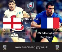 England v France - RWC 2019 Pool live in the clubhouse