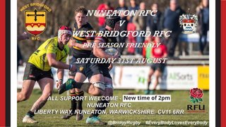 Last Pre-Season Friendly vs West Bridgford @ 2pm KO