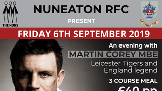 **ONE TABLE AVAILABLE** - Martin Corry evening...