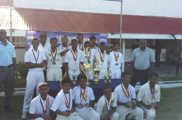 DCC-A U-15 CHAMPIONS 2012 WITH CLIVE LLOYD, SPONSOR AND GCA OFFICIAL