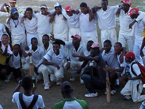 DCC CELEBRATING After Defeating MSC in DAVID PERSAUD U-19 Semi 2012