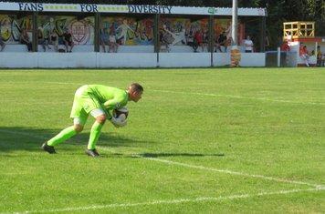 Michael Duggan making a routine save.