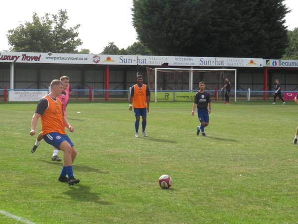 Sutton Coldfield Town warming up.