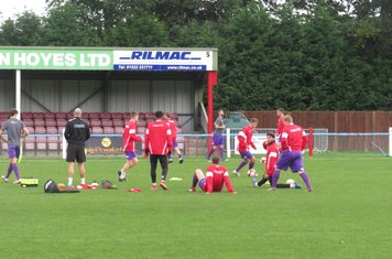 Kidsgrove Athletic warming up.