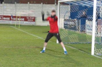 Tiernan Brooks warming up.