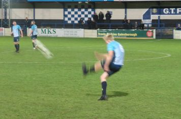 Nathan Stainfield taking a free kick.