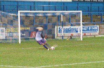 Michal Antkowiak taking a free kick.