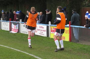 James Lewis and Elliot Wilson warming up.
