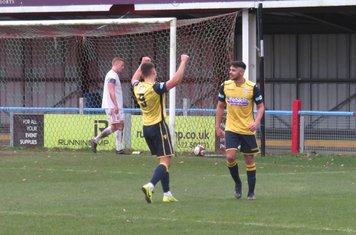 Jonathan Margetts celebrating his second goal.