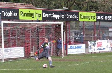 Thomas Jackson taking a goal kick.